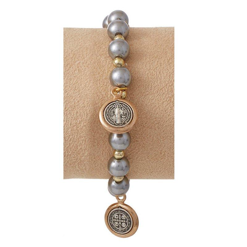 St. Benedict Bracelet with Medal Dangles - Silver