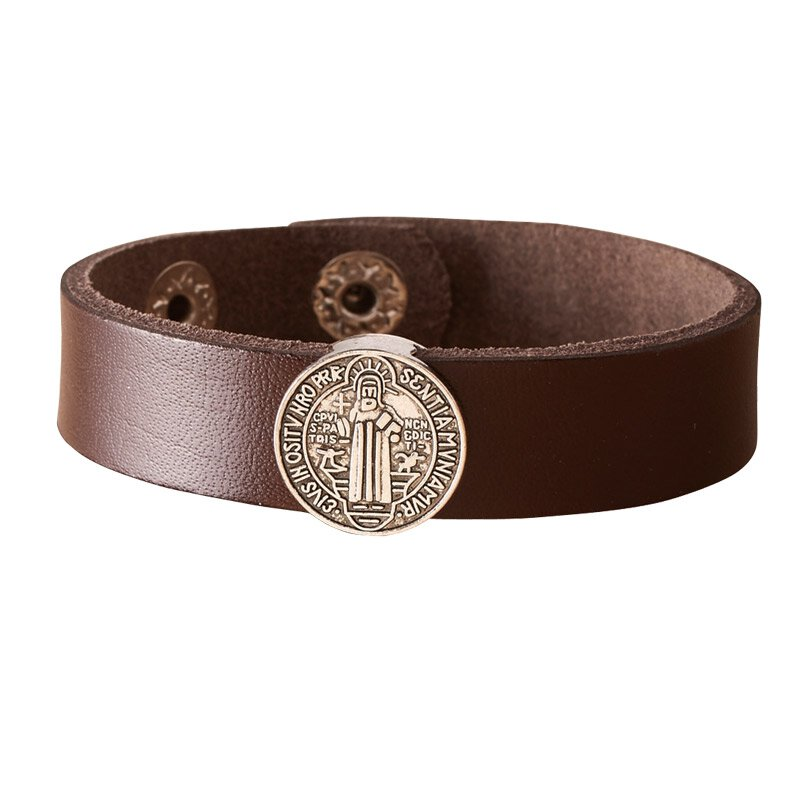 St. Benedict Leather Bracelet - Brown - 4/pk