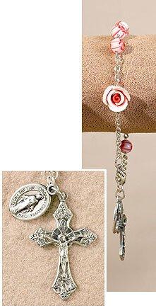 Pink Murano Flower Miraculous Rose Rosary Bracelet