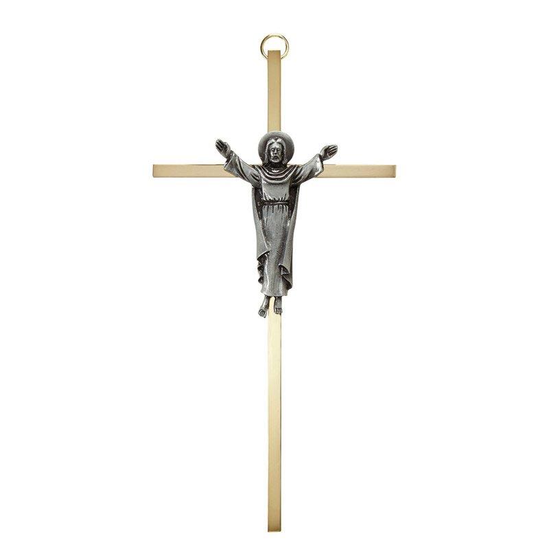 """James Brennan™ 7"""" Risen Christ Brass Cross"""