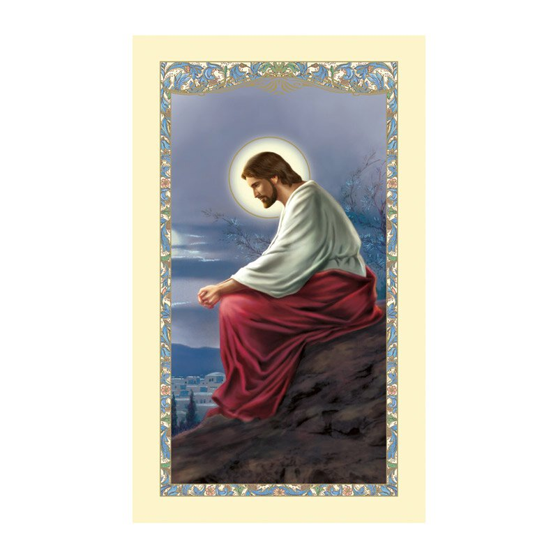 Christ Overlooking Jerusalem Laminated Holy Card - 25/pk