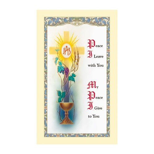 First Communion Peace I Leave Laminated Holy Card - 25/pk