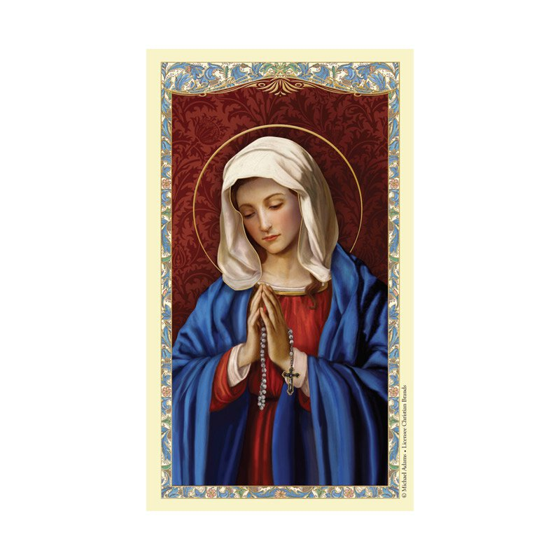 Our Lady of the Rosary Laminated Holy Card - 25/pk