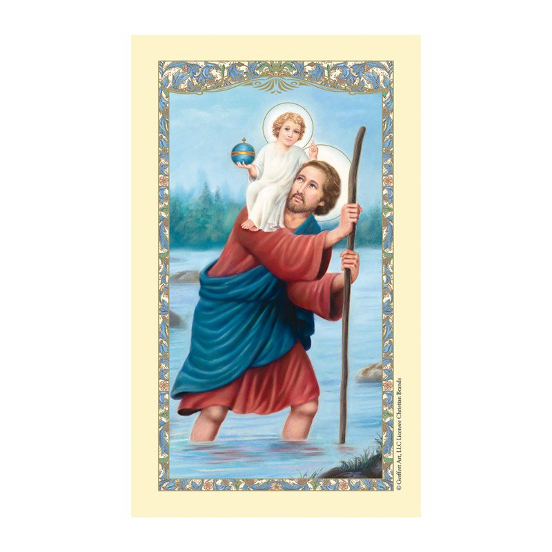 St. Christopher Laminated Holy Card - 25/pk