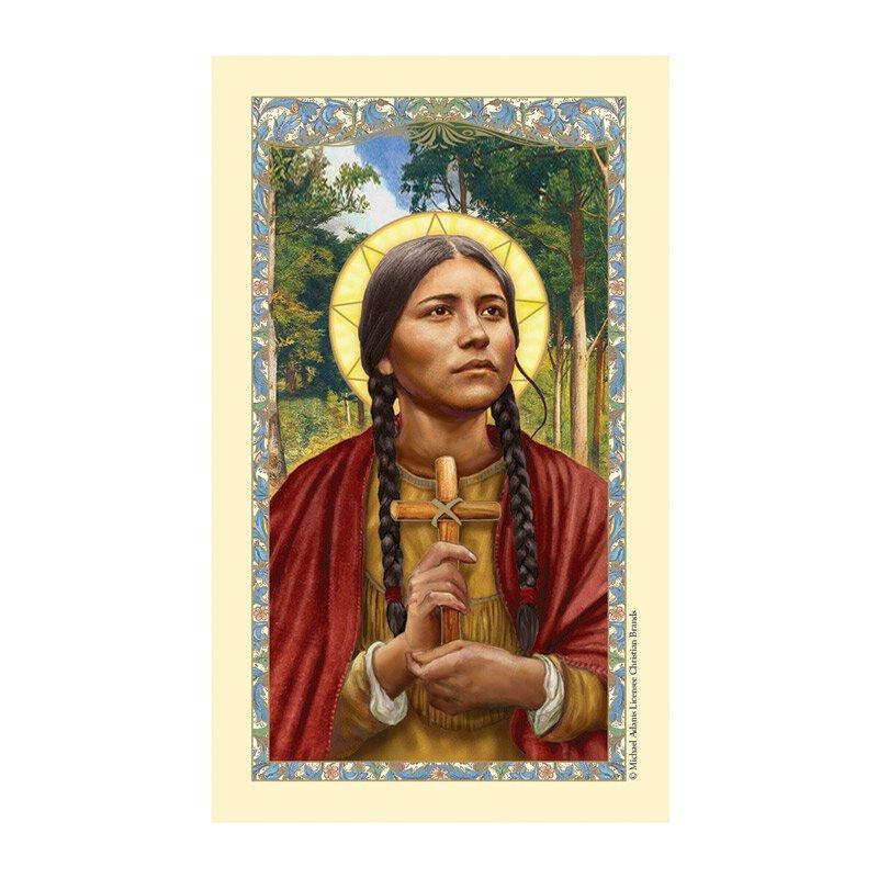 St. Kateri Tekakwitha Laminated Holy Card - 25/pk