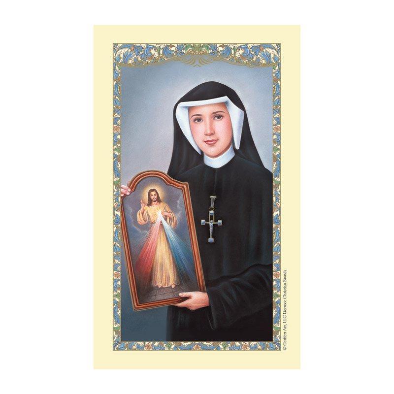 St. Maria Faustina Laminated Holy Card - 25/pk