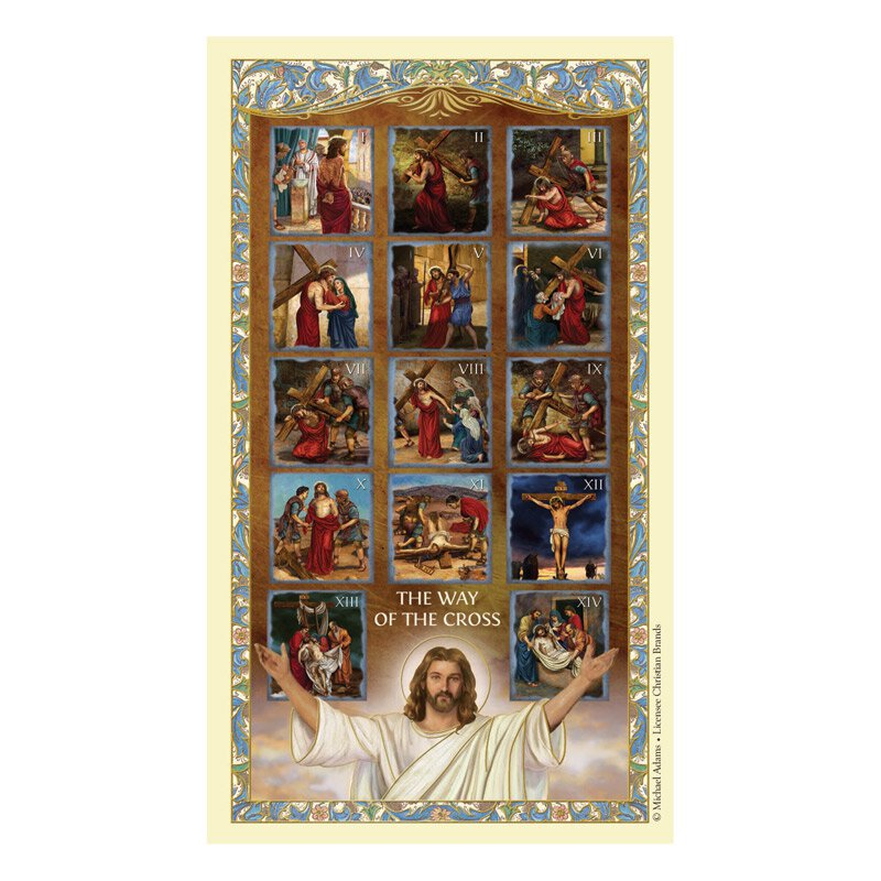 Stations of the Cross Laminated Holy Card - 25/pk
