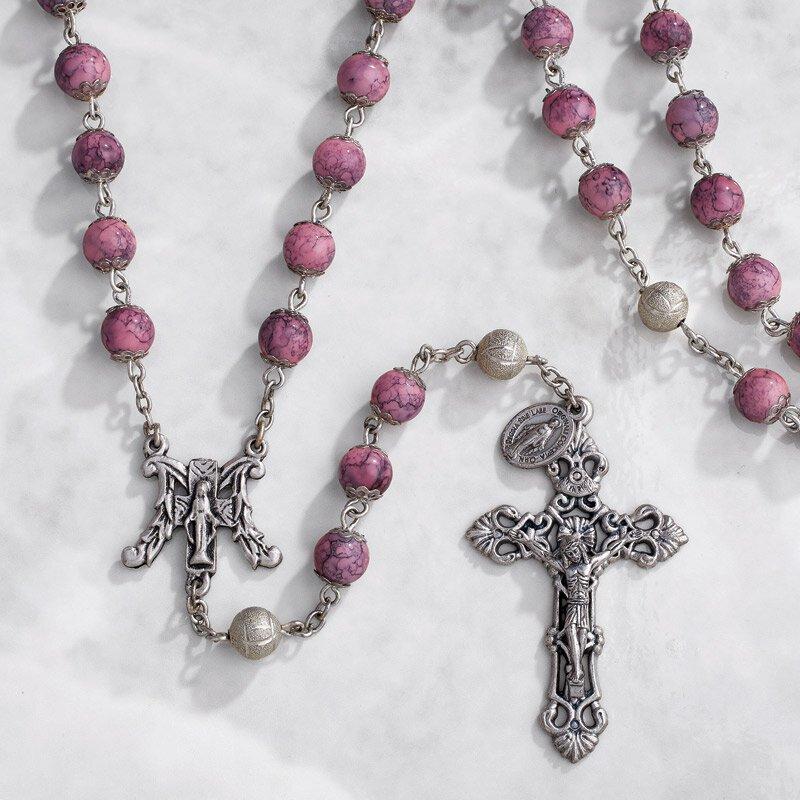 Paola Carola Marble Rosary - Pink