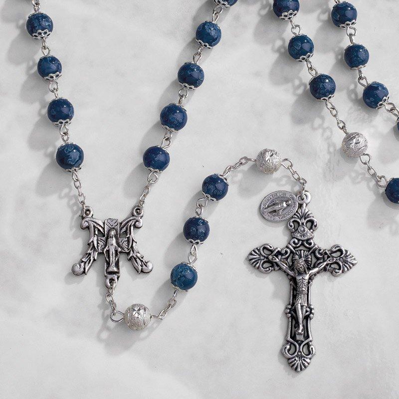 Paola Carola Marble Rosary - Dark Blue