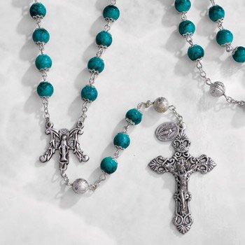 Paola Carola Marble Rosary - Emerald