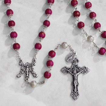 Paola Carola Marble Rosary - Amethyst