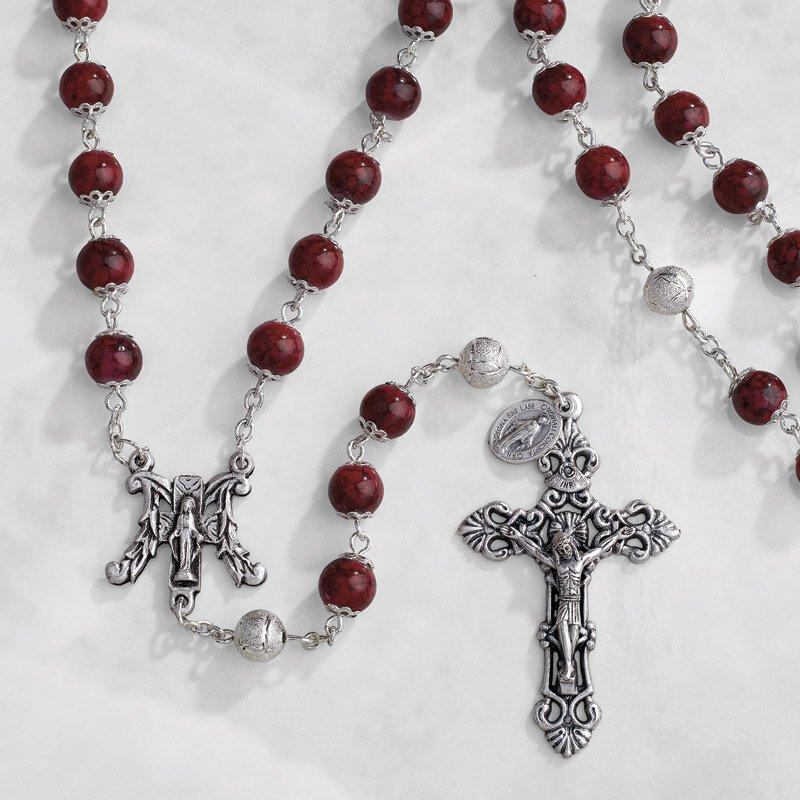 Paola Carola Marble Rosary - Ruby