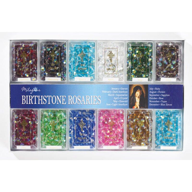 Birthstone Rosary Display (12 Asst) - 12/pk