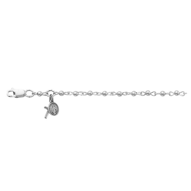 Creed Baby Bracelet With Cross And Miraculous Medal Silver