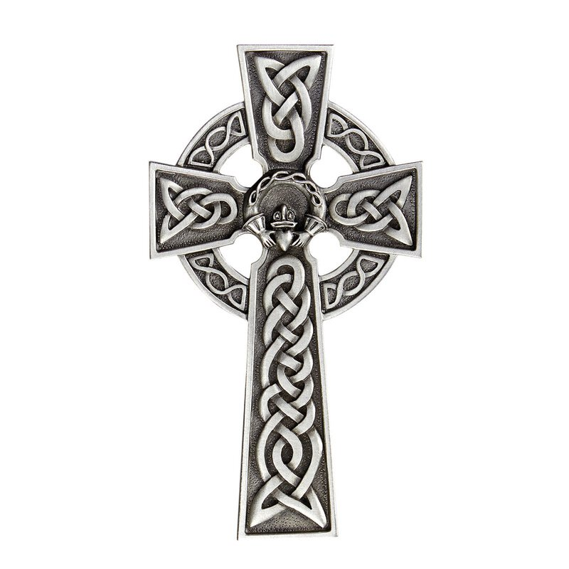 James Brennan™ Celtic Claddagh Cross - Pewter