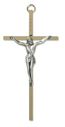Brass Crucifix With Pewter Corpus