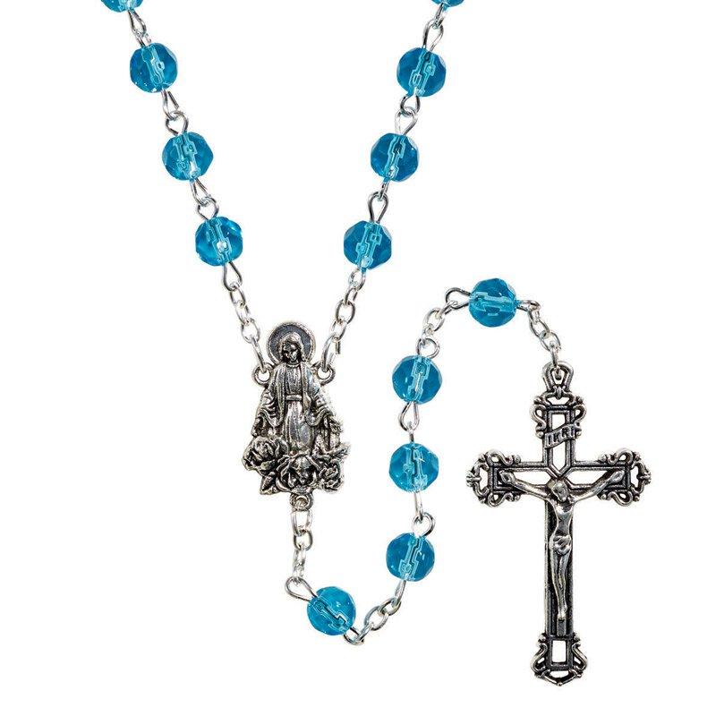 Creed® AB Birthstone Rosary - March (Aquamarine)