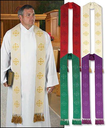 Jerusalem Cross Stole with Tassels