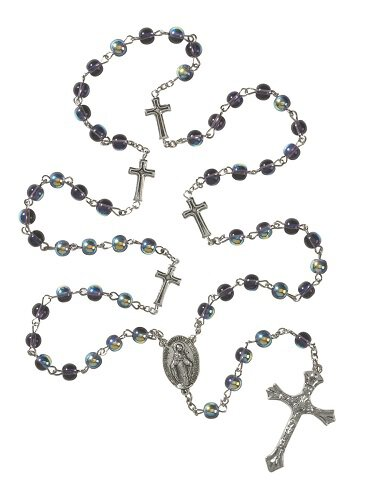 Purple Rosary with Cross Our Father Beads