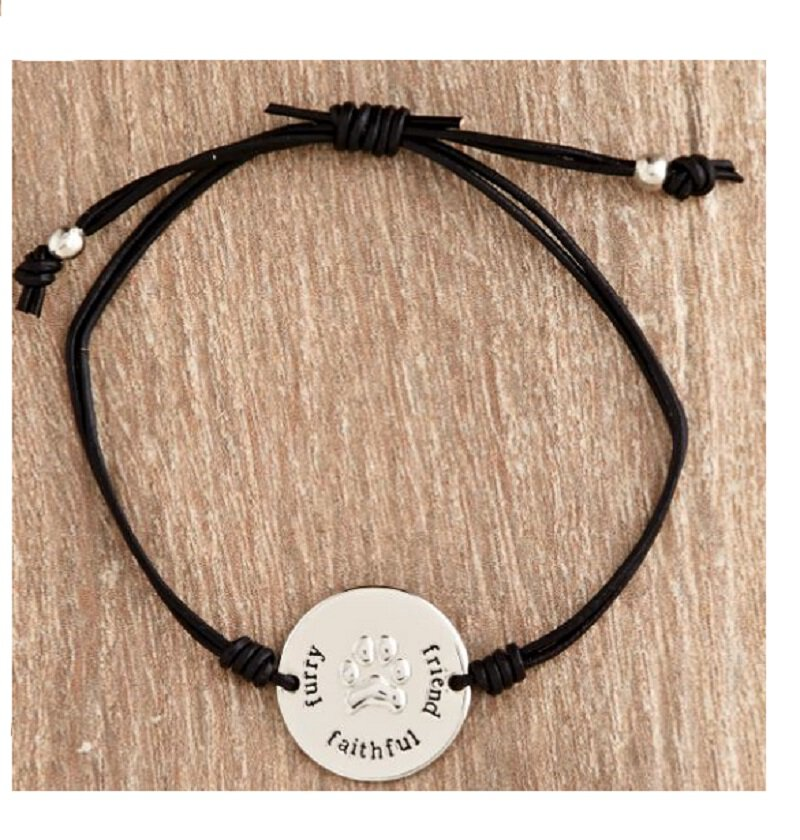 Urban Hope-Silver Paw Black Cord Bracelet