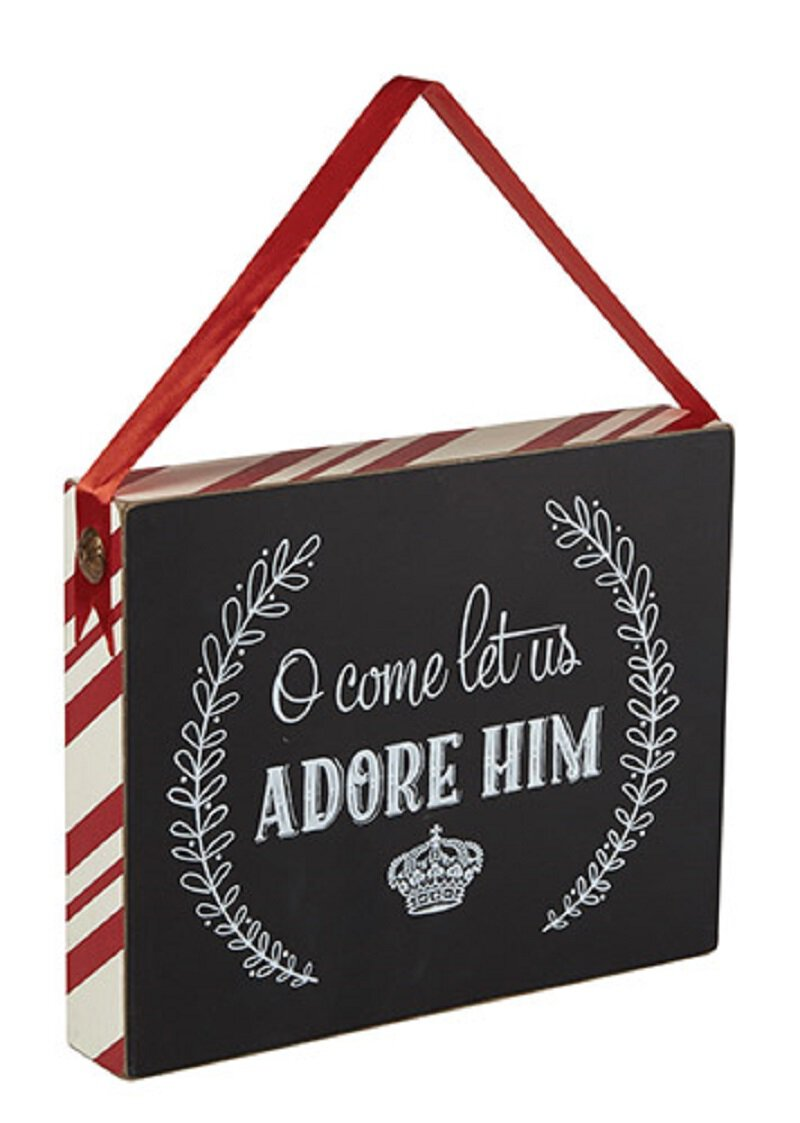 Chalkboard Wooden Box Plaque - Adore Him