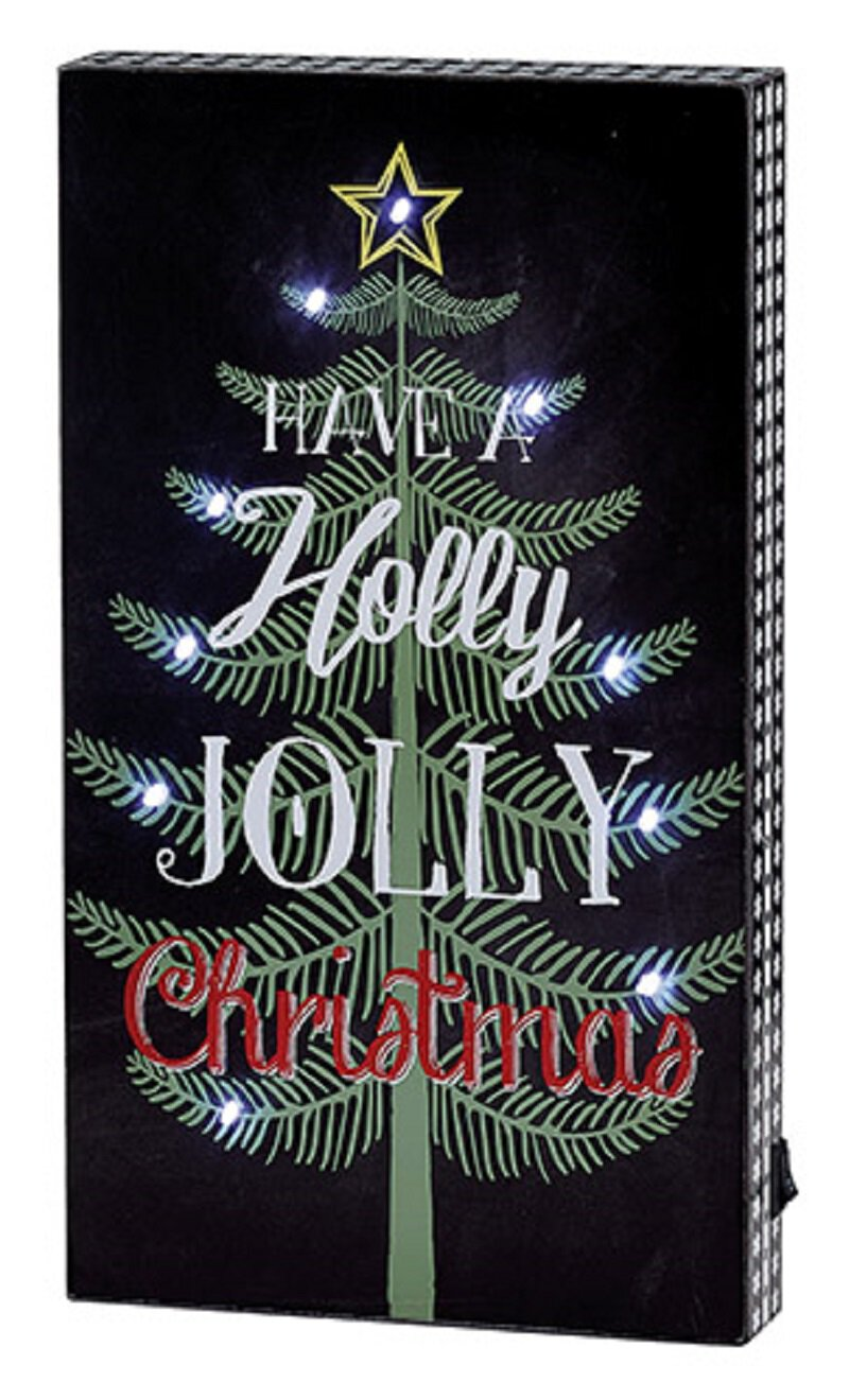 Have A Holly Jolly Christmas Light Up Box Plaque