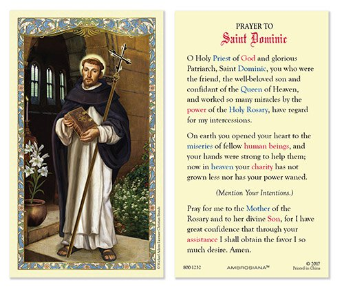 Saint Dominic Laminated Holy Card