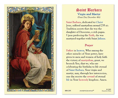Saint Barbara Laminated Holy Card