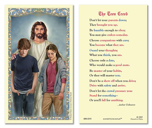 Christ with Teens Laminated Holy Card