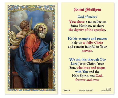 Saint Matthew Laminated Holy Card