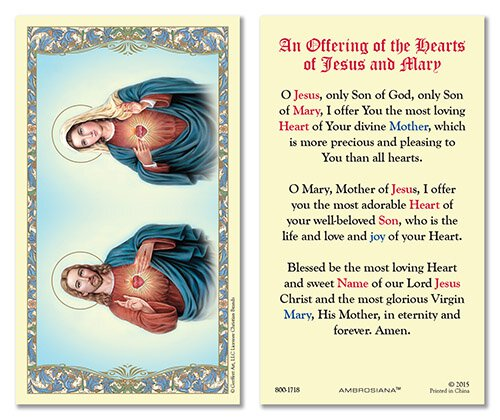 The Sacred Hearts Laminated Holy Card