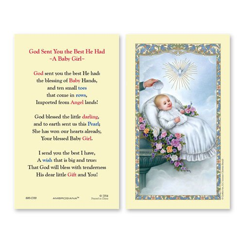 Baptismal - Girl (God Sent You the Best He Had - Baby Girl) Holy Card