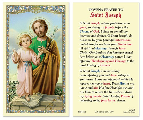 Saint Joseph and Child Laminated Holy Card