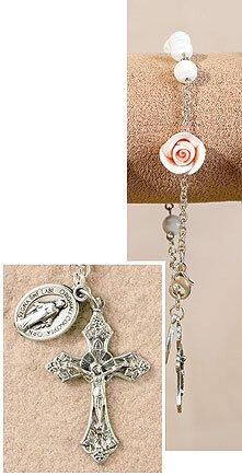 White Murano Flower Miraculous Rose Rosary Bracelet