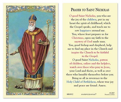 Saint Nicholas Laminated Holy Card