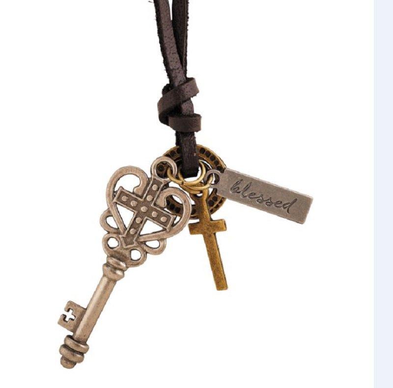 Cross Heart Key Leather Pendant