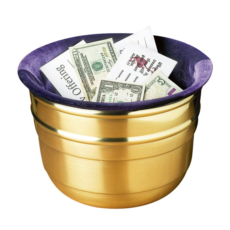Large Lenten Offering Pot with Purple Bag