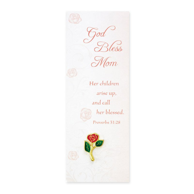 Rose Lapel Pin with God Bless Mom Bookmark - 12/pk