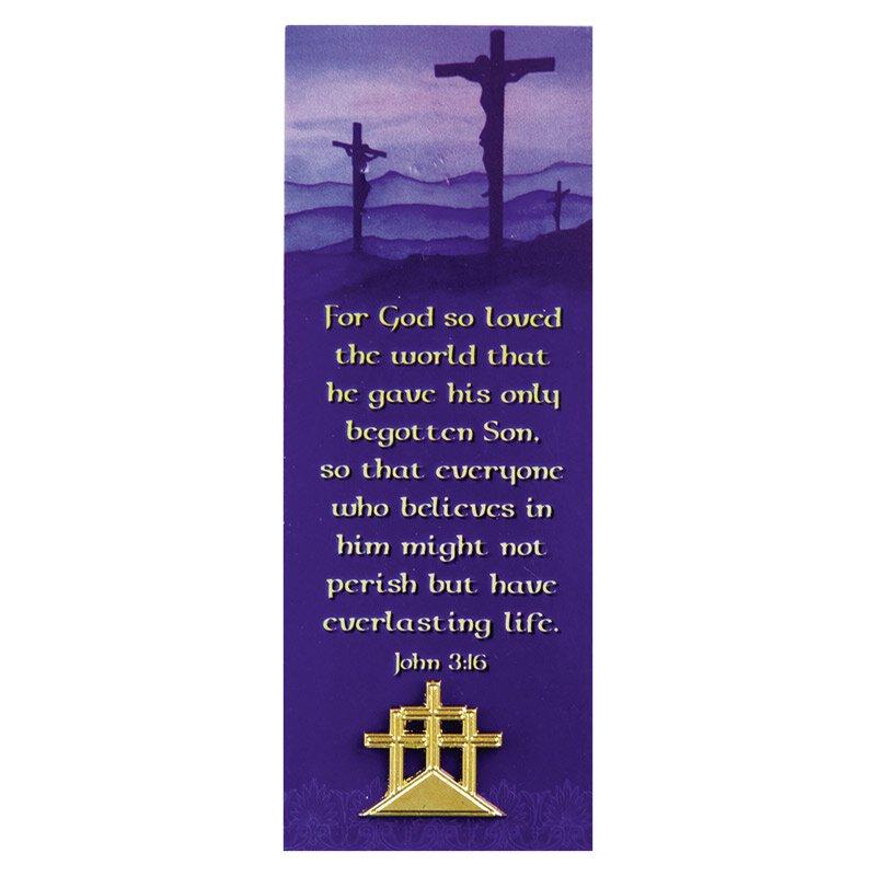 Amazing Easter (John 3:16) Lapel Pin With Bookmark   12/pk