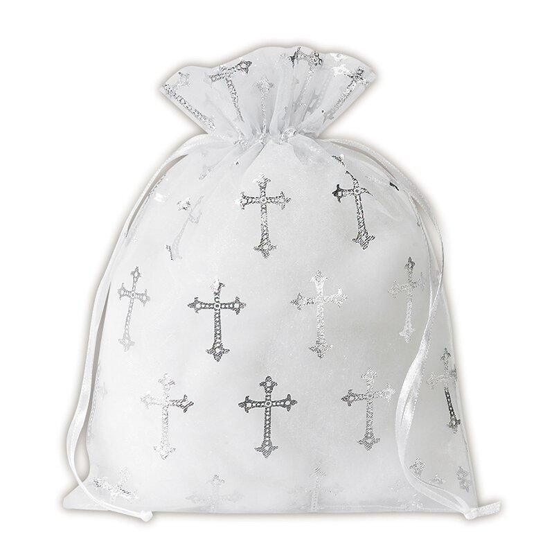 Large Cross Organza Gift Bag - 24/pk