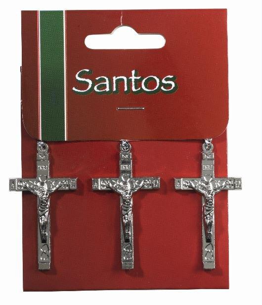 3Pc Crucifix Silver Solid 12Pk