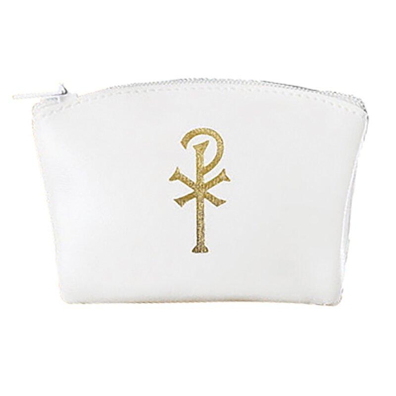 Chi Rho Zippered Rosary Case - White - 12/pk
