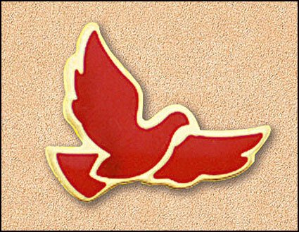 Large Red Dove Pin