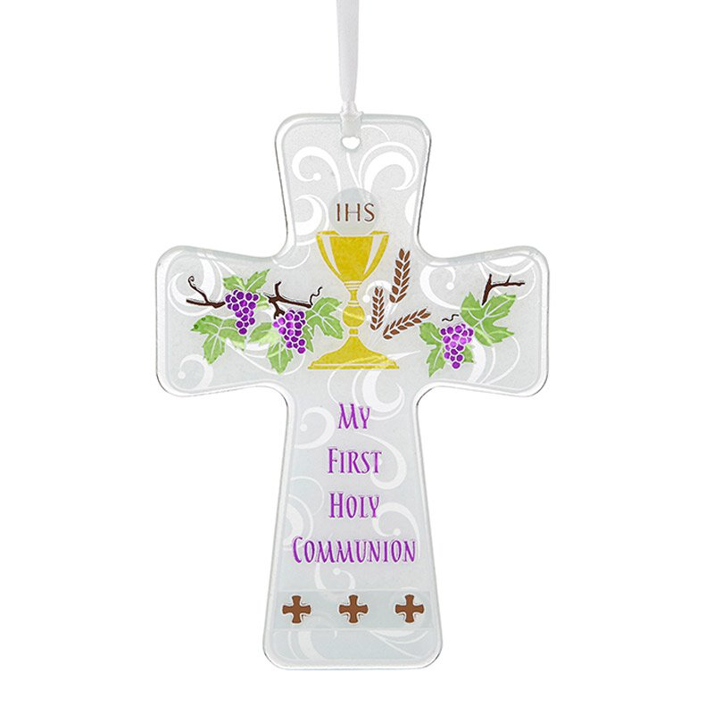 First Communion Chalice and Wheat Cross Ornament - 4/pk