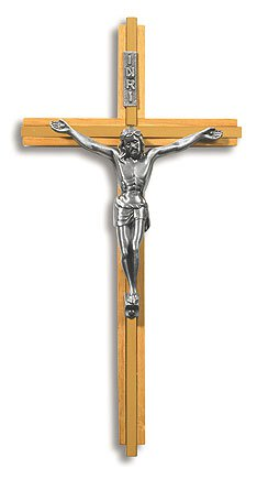 Walnut/Brass Crucifix with Pewter Corpus