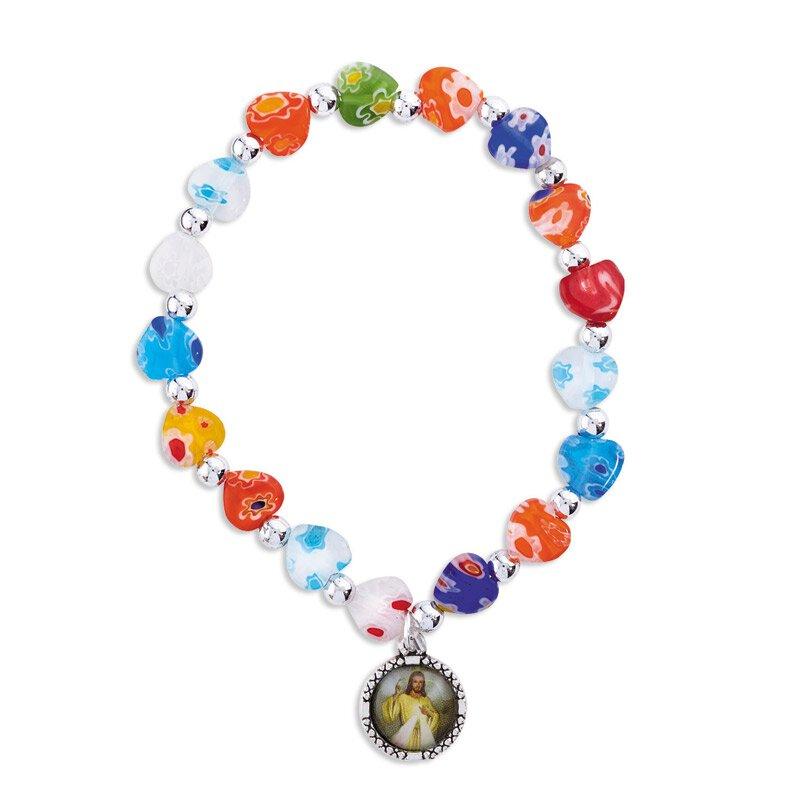 Divine Mercy Murano Heart Bracelet - 12/pk