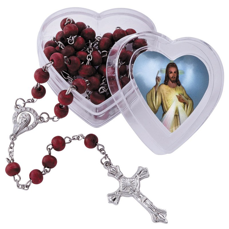 Divine Mercy Rose Scented Rosary with Heart Case - 12/pk