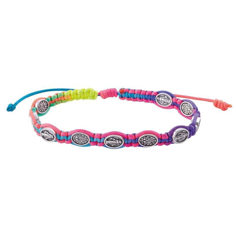 Miraculous Medal Rainbow Macrame Bracelet - 12/pk