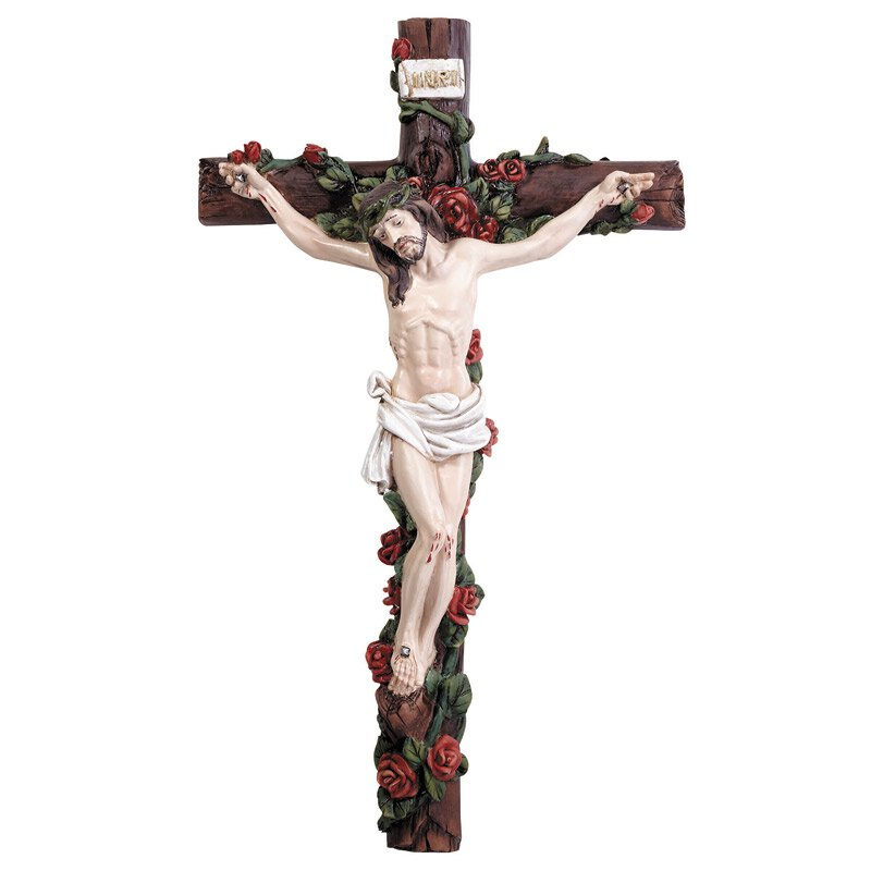Wall Crucifix with Roses