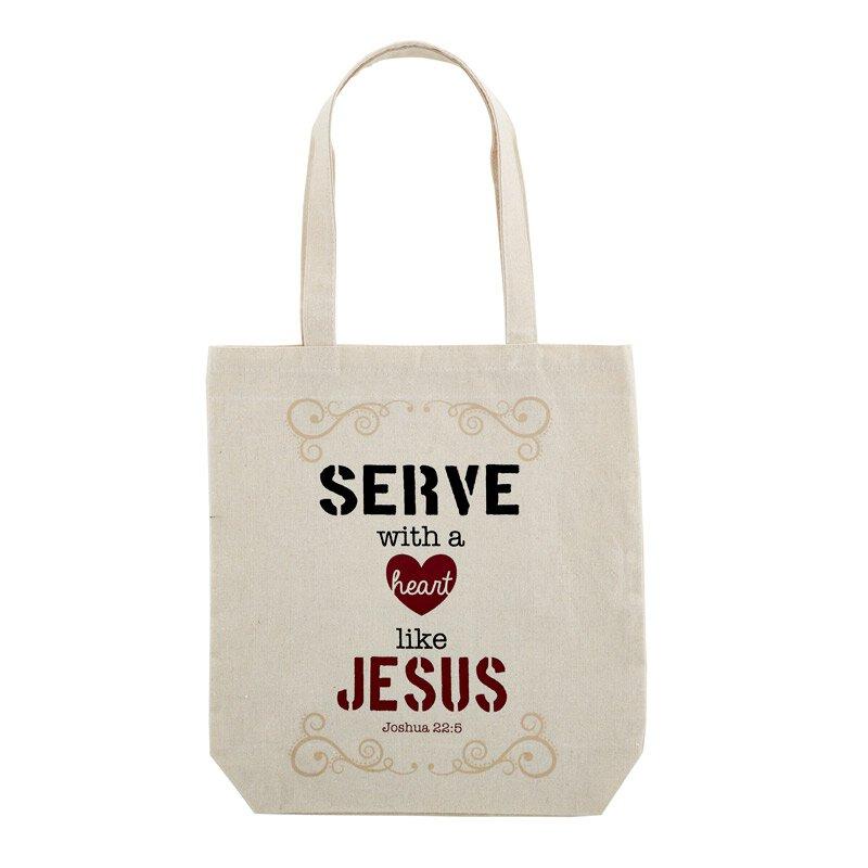 Serve with a Heart Like Jesus Tote Bag with Inside Pocket - 12/pk